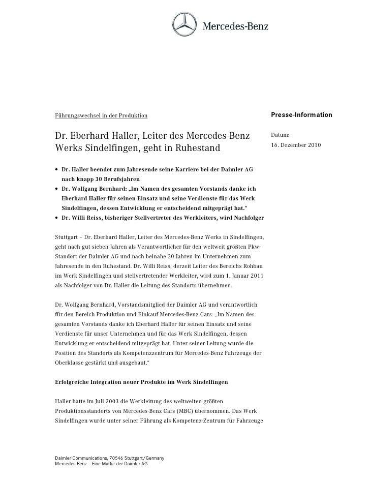 Führungswechsel in der Produktion                                                  Presse-InformationDr. Eberhard Haller, ...