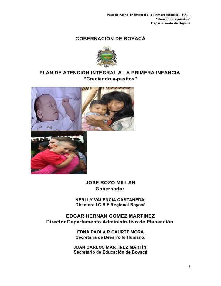 """Plan de Atención Integral a la Primera Infancia – PAI –                                                            """"Crecie..."""