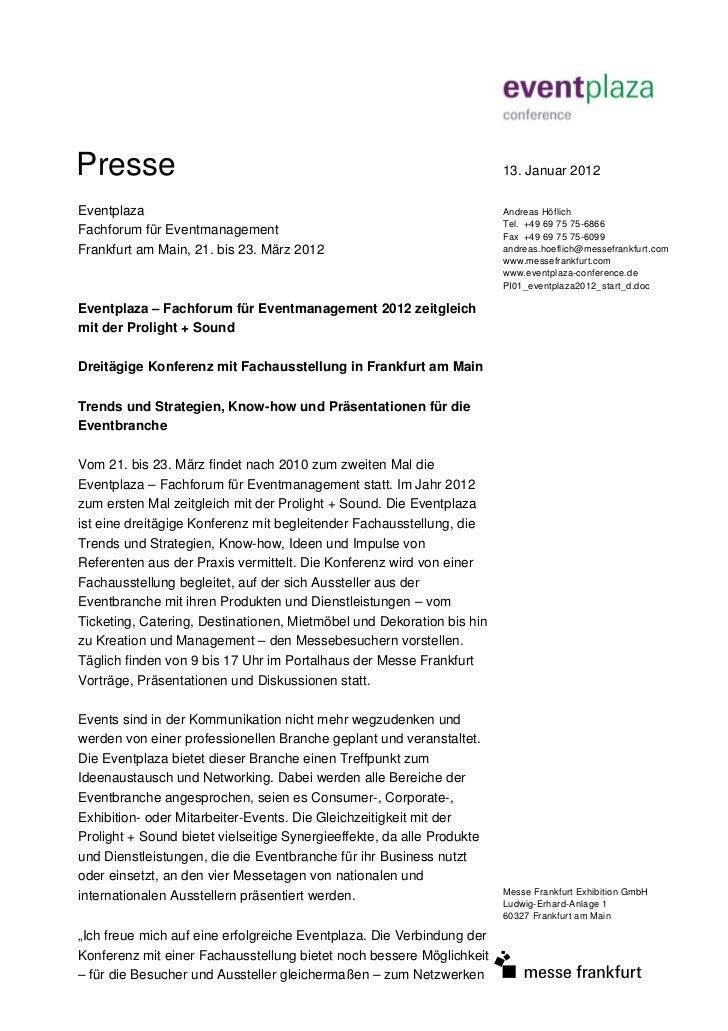 Presse                                                                  13. Januar 2012Eventplaza                         ...