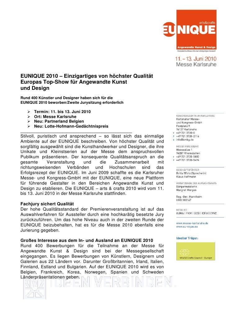 EUNIQUE 2010 – Einzigartiges von höchster QualitätEuropas Top-Show für Angewandte Kunstund DesignRund 400 Künstler und Des...