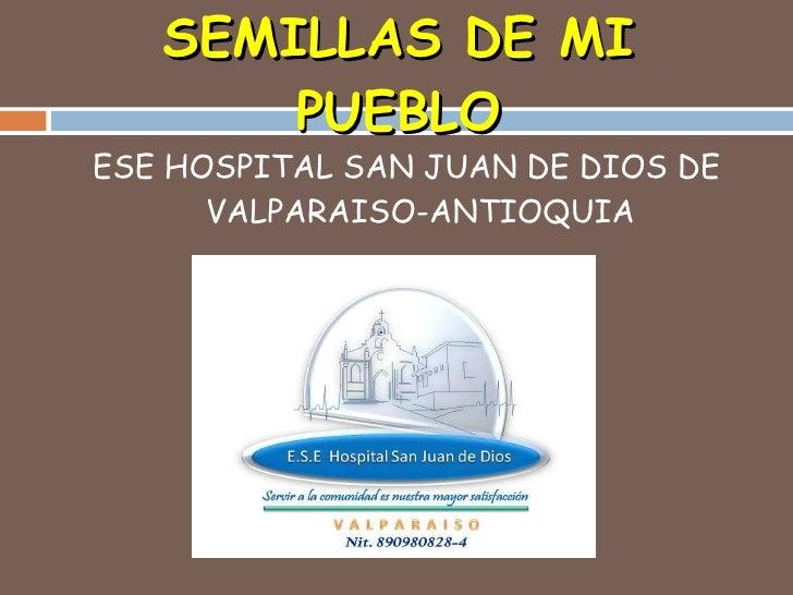 SEMILLAS DE MI PUEBLO <ul><li>ESE HOSPITAL SAN JUAN DE DIOS DE VALPARAISO-ANTIOQUIA </li></ul>