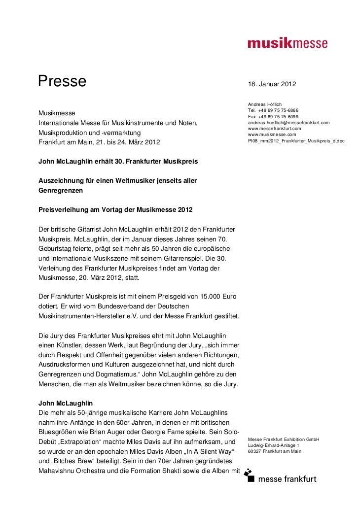 Presse                                                                 18. Januar 2012                                    ...