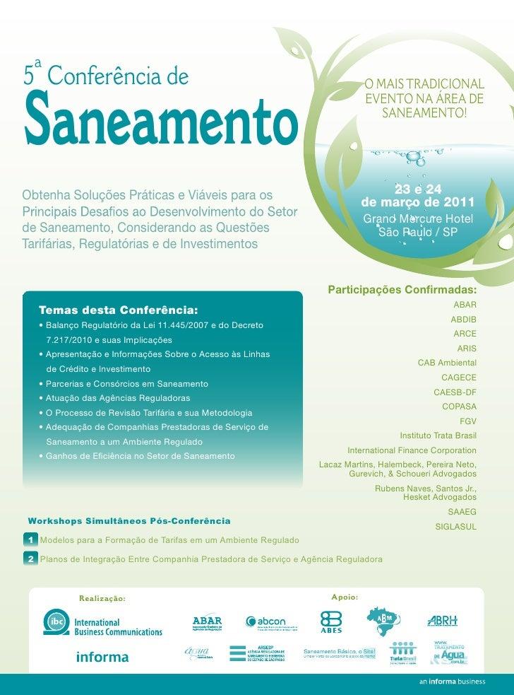 5ª Conferência deSaneamento                                                                               O MAIS TRADICION...