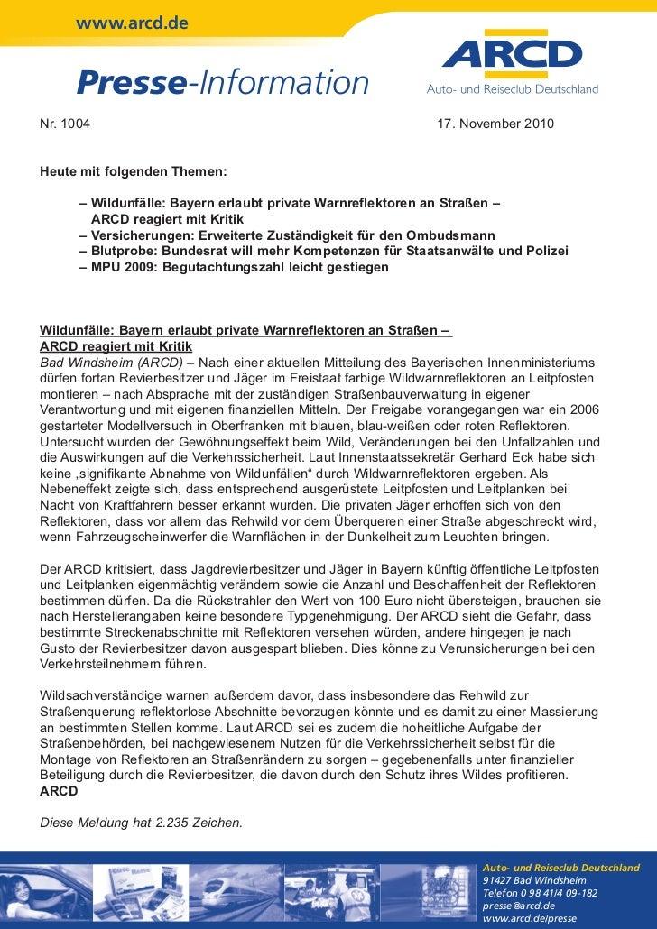 www.arcd.de      Presse-InformationNr. 1004                                                           17. November 2010Heu...
