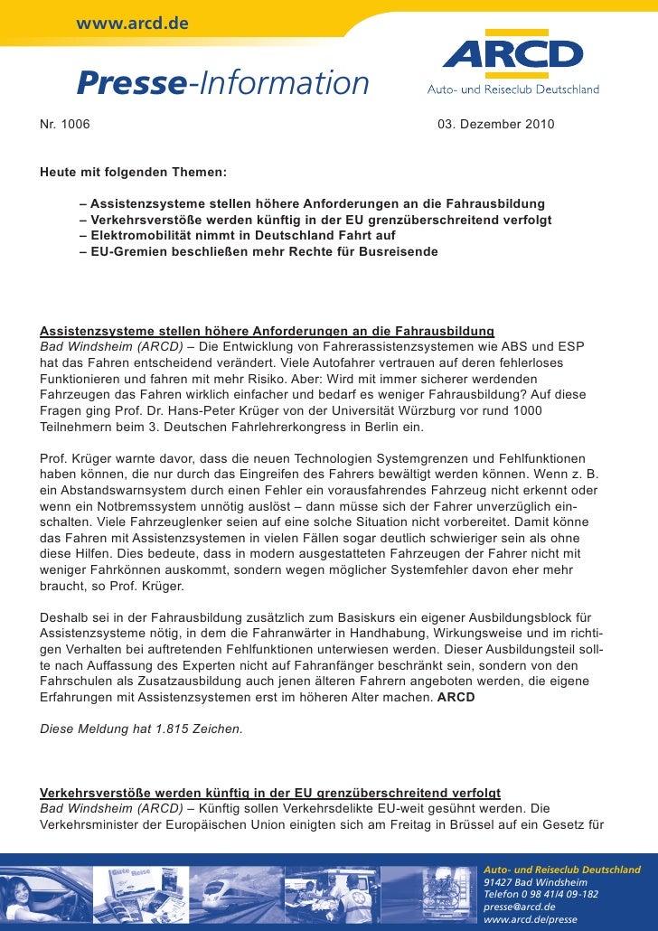 www.arcd.de      Presse-InformationNr. 1006                                                          03. Dezember 2010Heut...