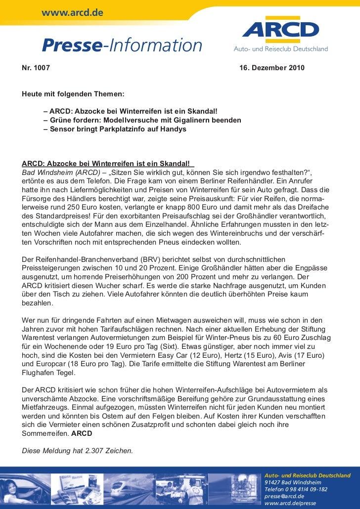 www.arcd.de      Presse-InformationNr. 1007                                                           16. Dezember 2010Heu...