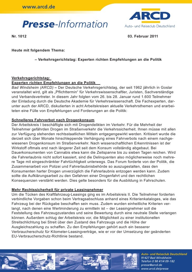www.arcd.de      Presse-InformationNr. 1012                                                             03. Februar 2011He...