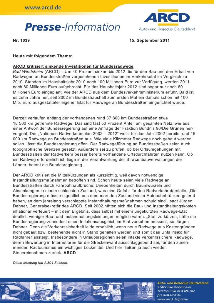 www.arcd.de      Presse-InformationNr. 1039                                                   15. September 2011Heute mit ...