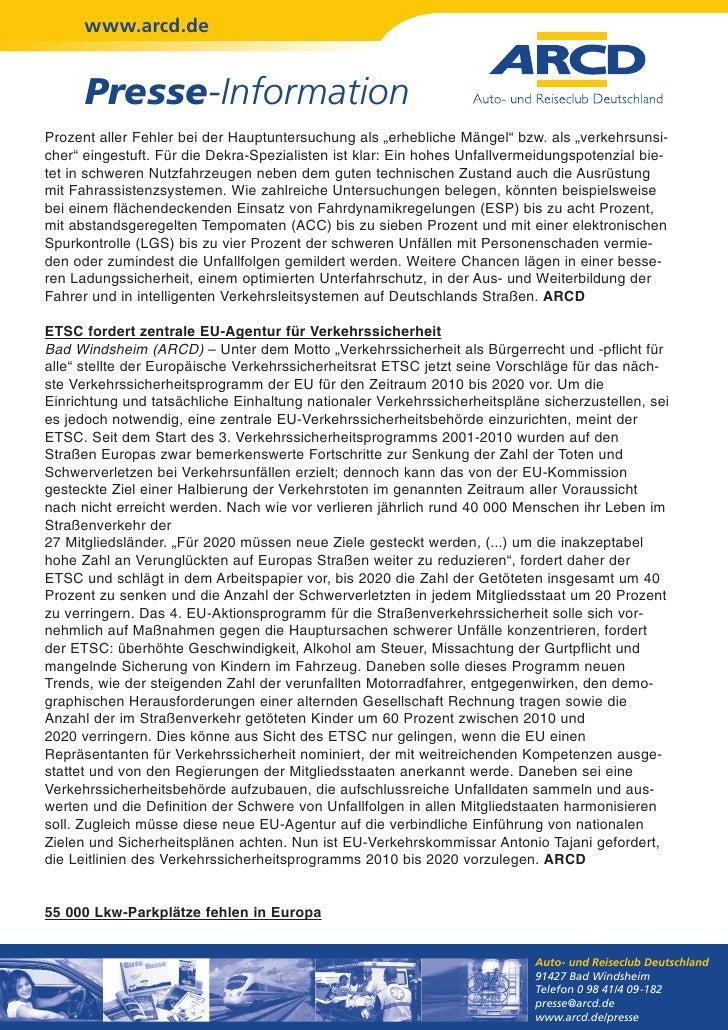 """www.arcd.de      Presse-InformationProzent aller Fehler bei der Hauptuntersuchung als """"erhebliche Mängel"""" bzw. als """"verkeh..."""