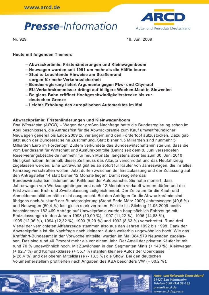 www.arcd.de      Presse-InformationNr. 929                                                    18. Juni 2009Heute mit folge...