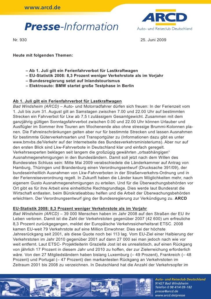 www.arcd.de      Presse-InformationNr. 930                                                             25. Juni 2009Heute ...