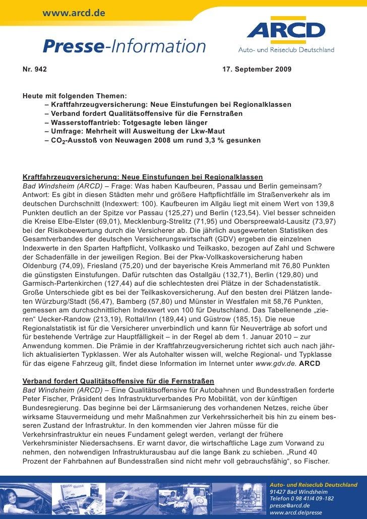 www.arcd.de      Presse-InformationNr. 942                                                    17. September 2009Heute mit ...