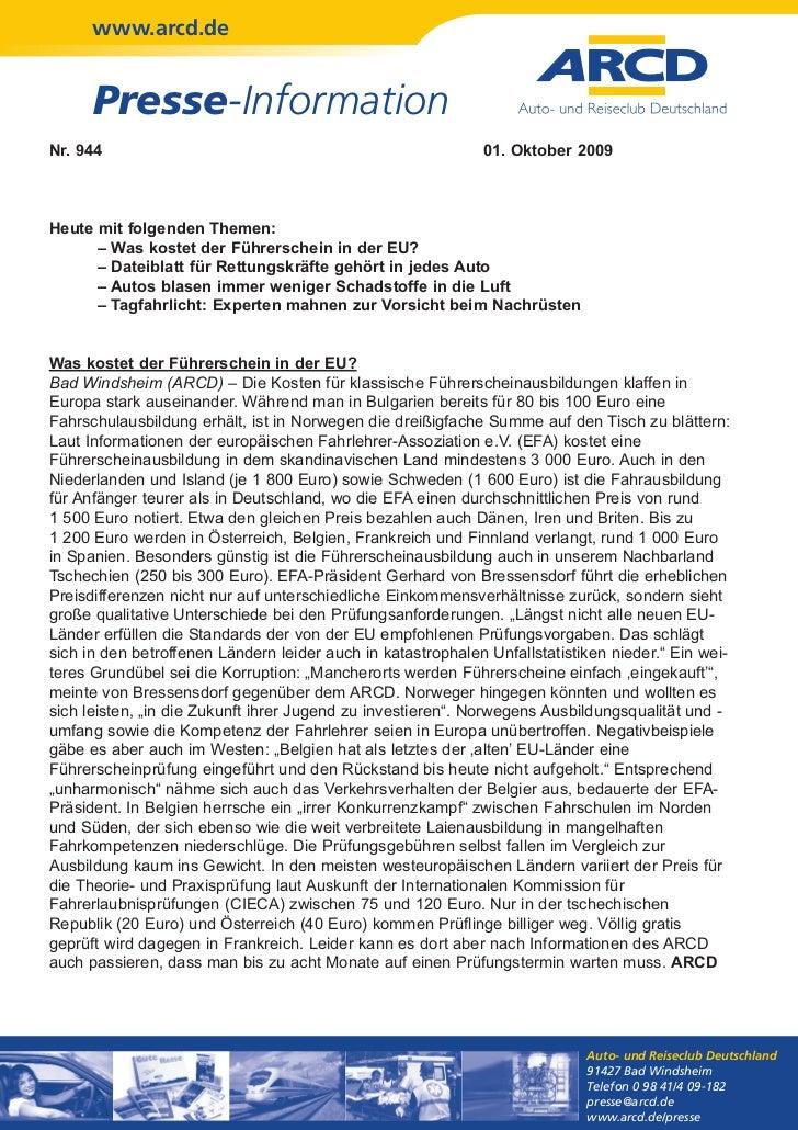 www.arcd.de      Presse-InformationNr. 944                                                      01. Oktober 2009Heute mit ...