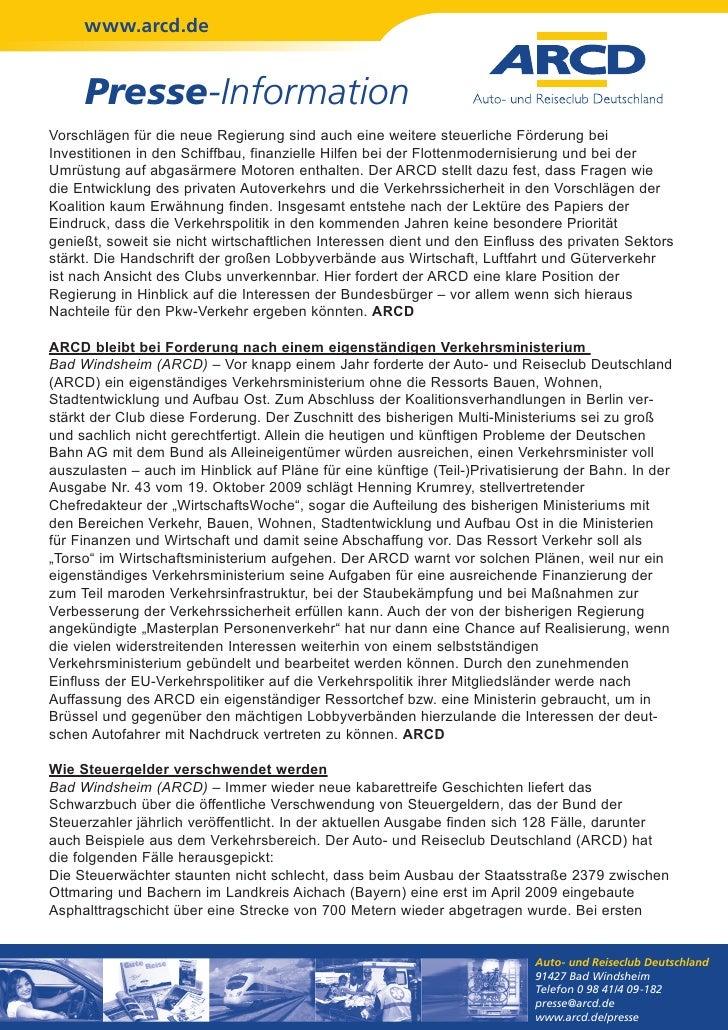 www.arcd.de     Presse-InformationVorschlägen für die neue Regierung sind auch eine weitere steuerliche Förderung beiInves...