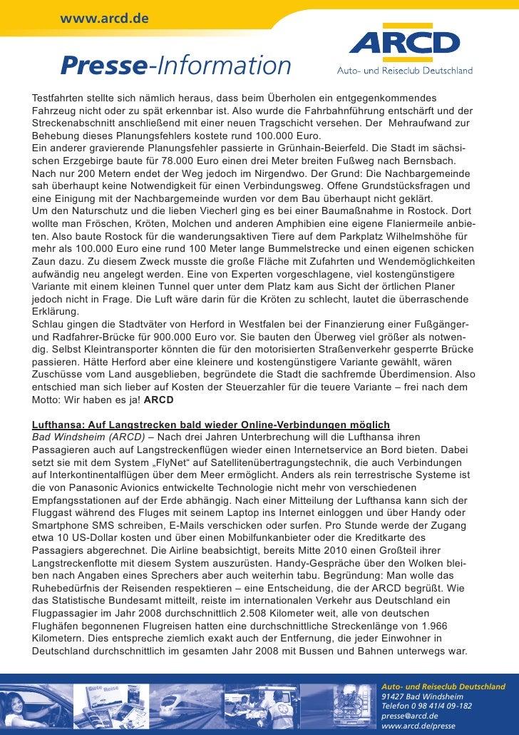 www.arcd.de      Presse-InformationTestfahrten stellte sich nämlich heraus, dass beim Überholen ein entgegenkommendesFahrz...