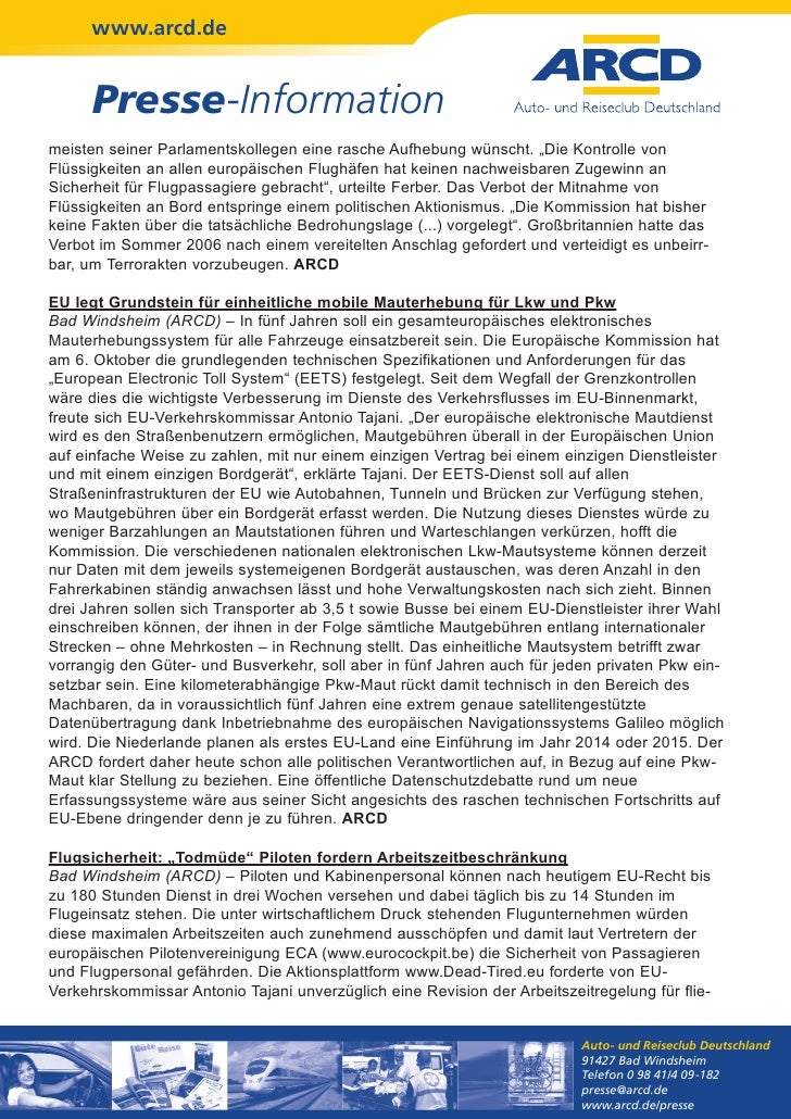 """www.arcd.de      Presse-Informationmeisten seiner Parlamentskollegen eine rasche Aufhebung wünscht. """"Die Kontrolle vonFlüs..."""