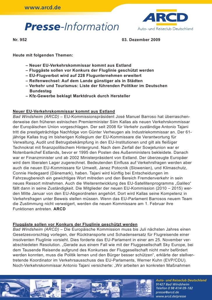 www.arcd.de      Presse-InformationNr. 952                                                  03. Dezember 2009Heute mit fol...