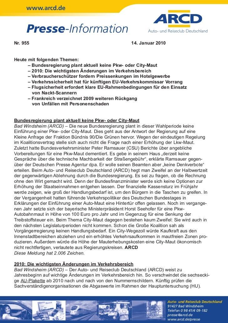www.arcd.de     Presse-InformationNr. 955                                                14. Januar 2010Heute mit folgende...