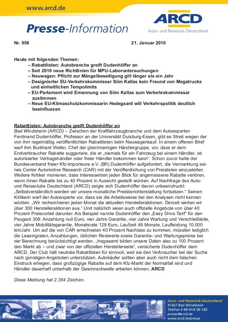 www.arcd.de      Presse-InformationNr. 956                                                 21. Januar 2010Heute mit folgen...