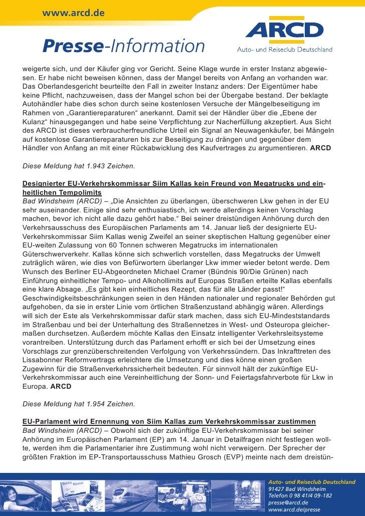 www.arcd.de      Presse-Informationweigerte sich, und der Käufer ging vor Gericht. Seine Klage wurde in erster Instanz abg...