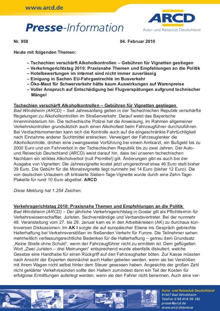 www.arcd.de      Presse-InformationNr. 958                                              04. Februar 2010Heute mit folgende...