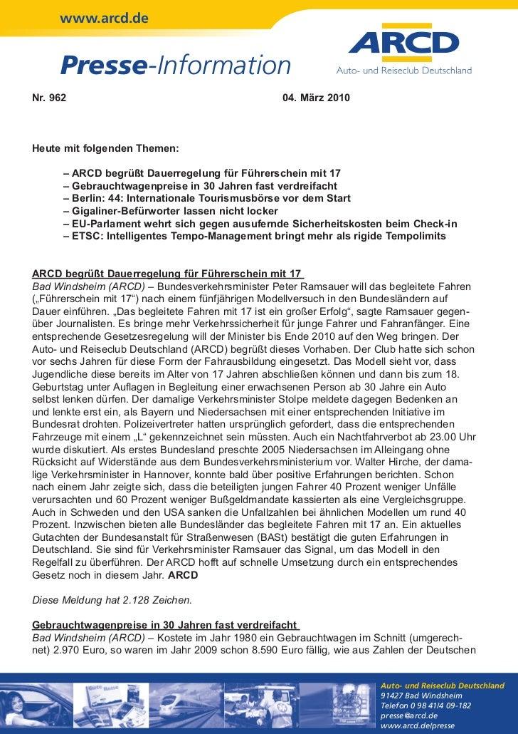 www.arcd.de     Presse-InformationNr. 962                                            04. März 2010Heute mit folgenden Them...