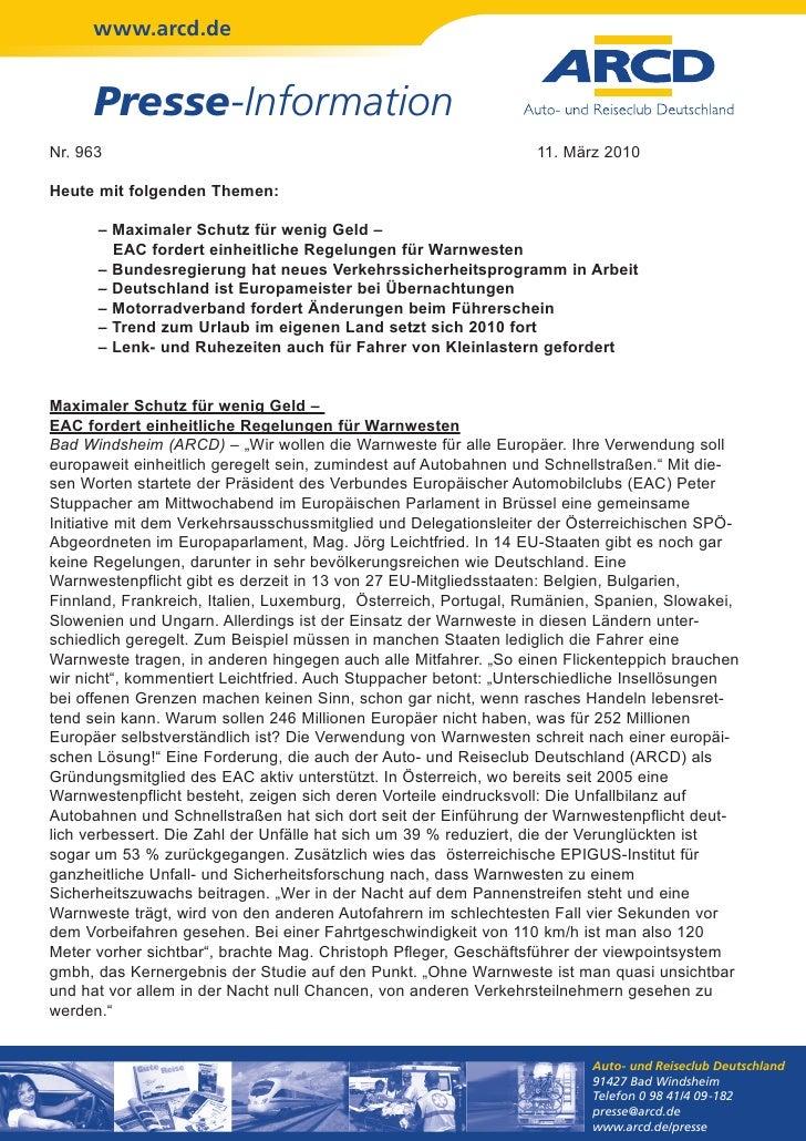 www.arcd.de     Presse-InformationNr. 963                                                          11. März 2010Heute mit ...