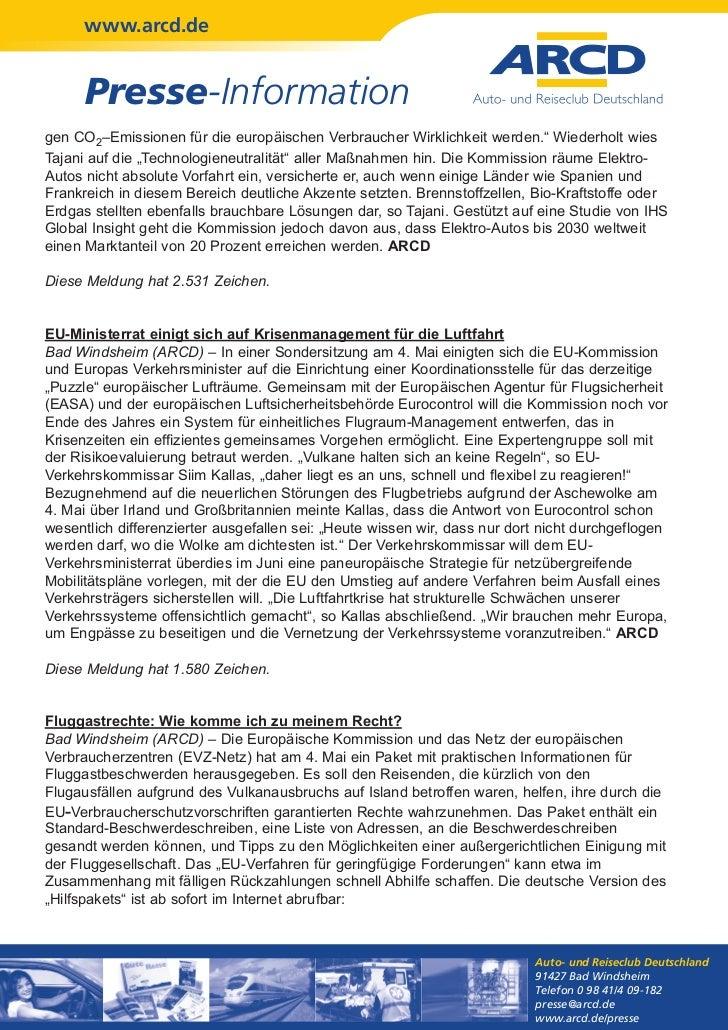 """www.arcd.de      Presse-Informationgen CO2–Emissionen für die europäischen Verbraucher Wirklichkeit werden."""" Wiederholt wi..."""