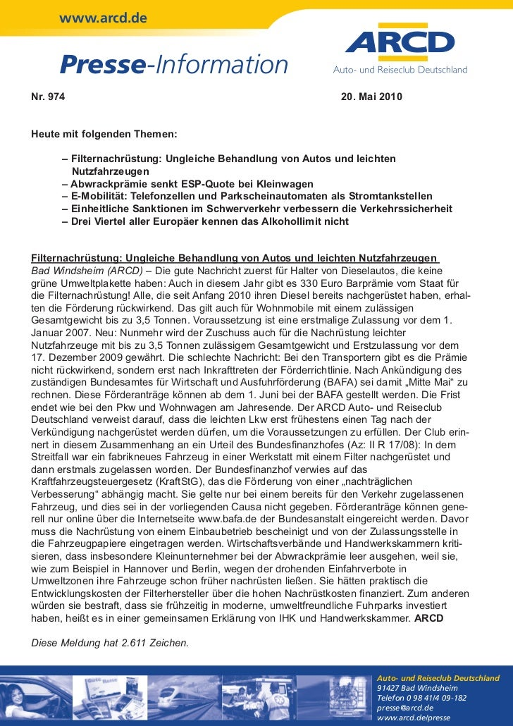 www.arcd.de      Presse-InformationNr. 974                                                             20. Mai 2010Heute m...