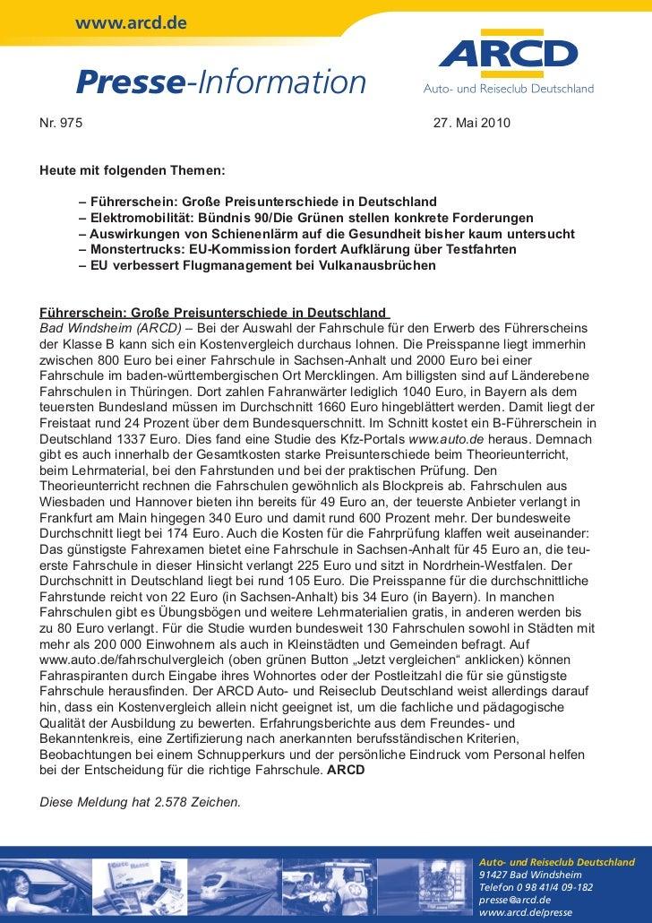 www.arcd.de      Presse-InformationNr. 975                                                           27. Mai 2010Heute mit...