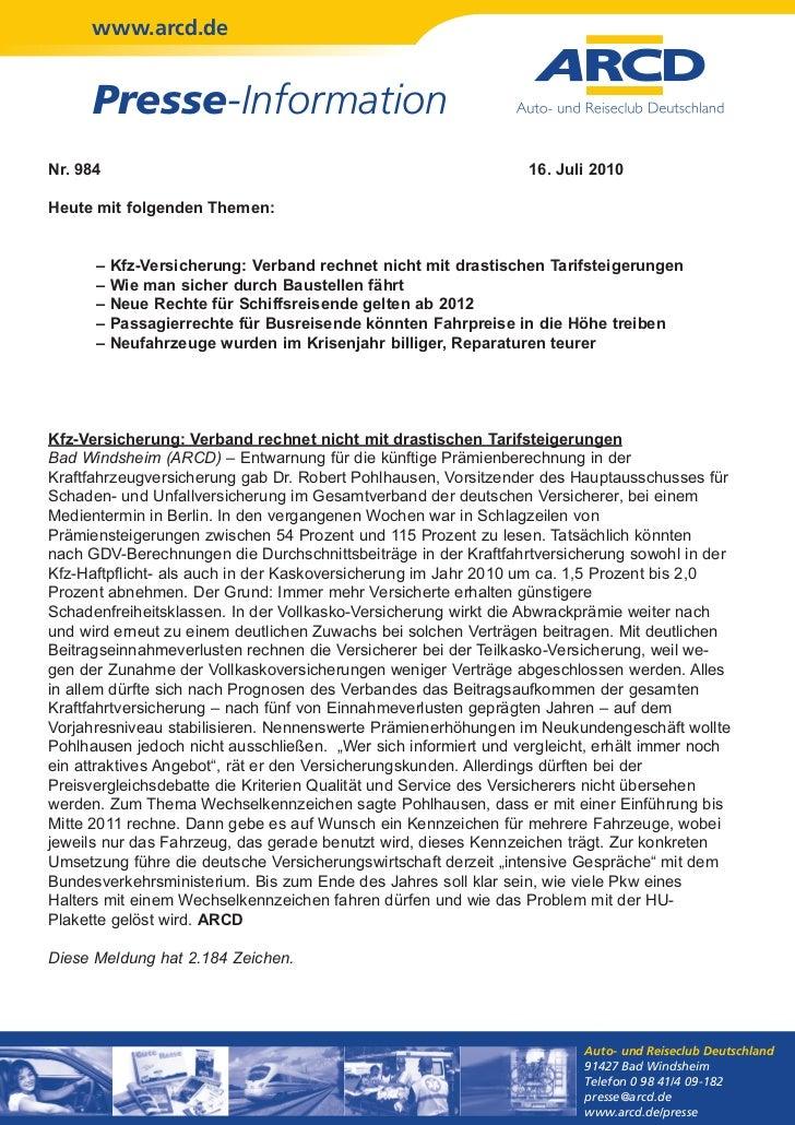 www.arcd.de      Presse-InformationNr. 984                                                         16. Juli 2010Heute mit ...