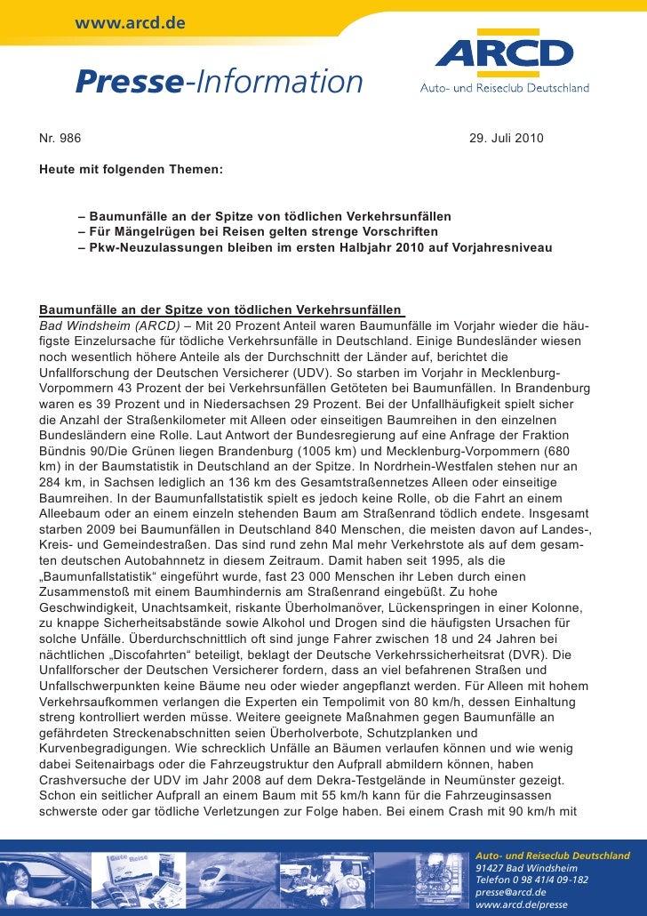 www.arcd.de      Presse-InformationNr. 986                                                                29. Juli 2010Heu...