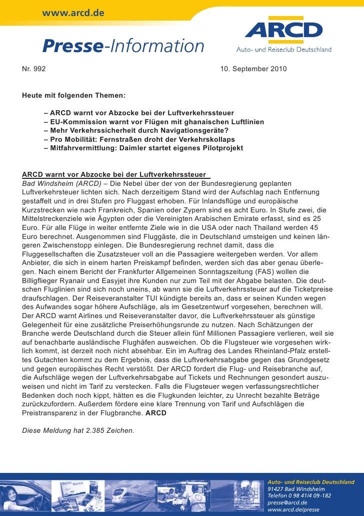 www.arcd.de      Presse-InformationNr. 992                                                     10. September 2010Heute mit...