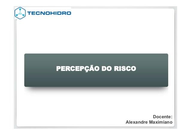 PERCEPÇÃO DO RISCO  Docente: Alexandre Maximiano