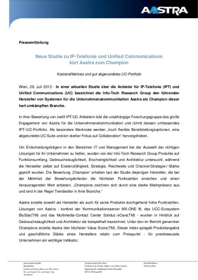 Pressemitteilung  Neue Studie zu IP-Telefonie und Unified Communications kürt Aastra zum Champion Kosteneffektives und gut...