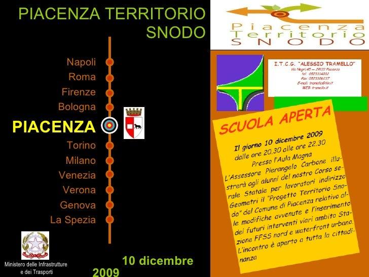 PIACENZA TERRITORIO SNODO 10 dicembre 2009 Napoli Roma Firenze Bologna PIACENZA Torino Milano Venezia Verona Genova La Spe...