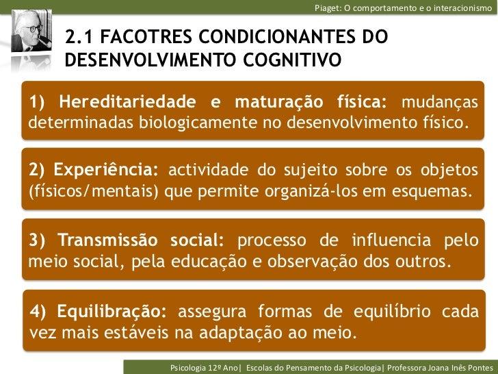 Piaget: O comportamento e o interacionismo     2.1 FACOTRES CONDICIONANTES DO    DESENVOLVIMENTO COGNITIVO1) H...