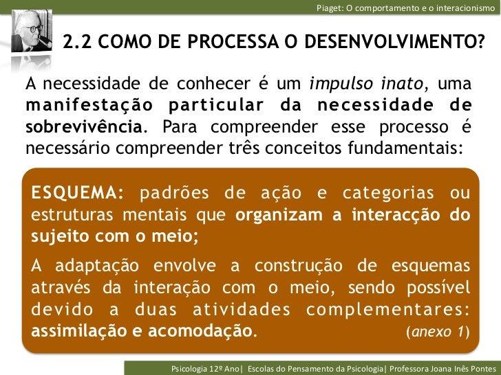 Piaget: O comportamento e o interacionismo     2.2 COMO DE PROCESSA O DESENVOLVIMENTO?A necessidade de conhece...