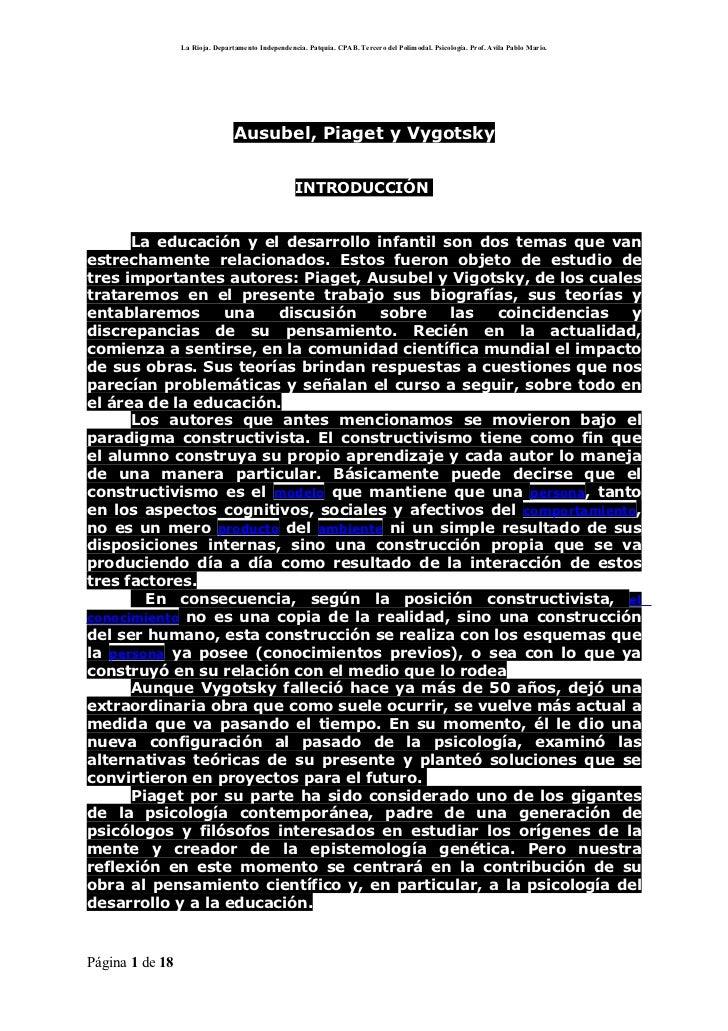 La Rioja. Departamento Independencia. Patquia. CPAB. Tercero del Polimodal. Psicología. Prof. Avila Pablo Mario.          ...