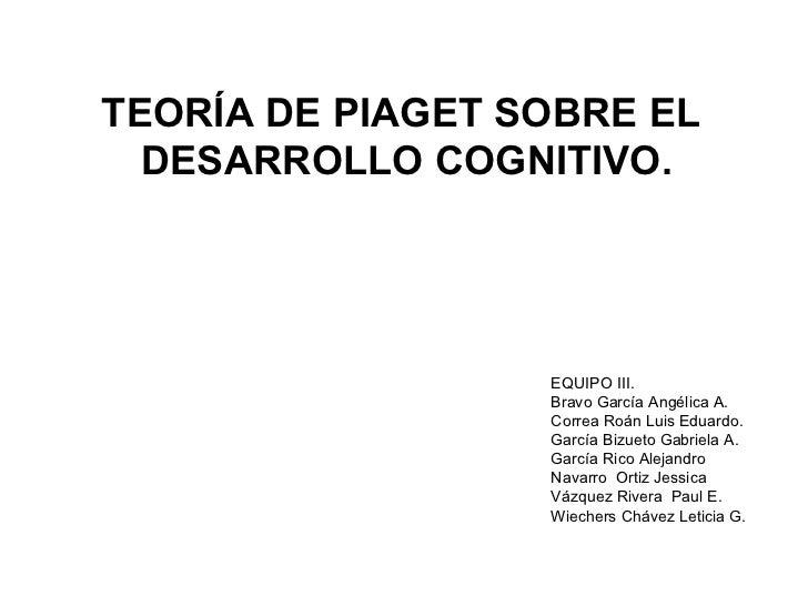 TEORÍA DE PIAGET SOBRE EL  DESARROLLO COGNITIVO. EQUIPO III. Bravo García Angélica A. Correa Roán Luis Eduardo. García Biz...