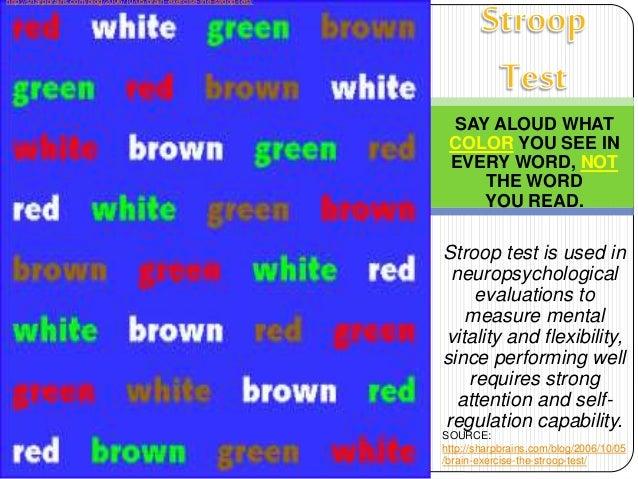stroop test evaluation