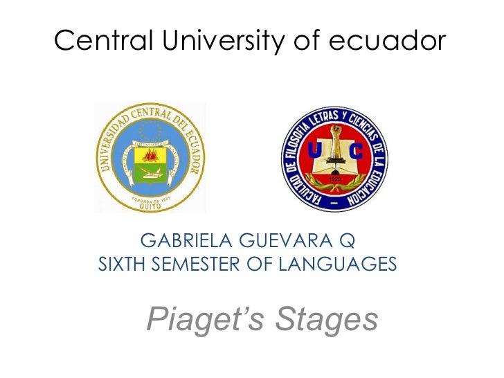 Central University of ecuador        GABRIELA GUEVARA Q   SIXTH SEMESTER OF LANGUAGES       Piaget's Stages