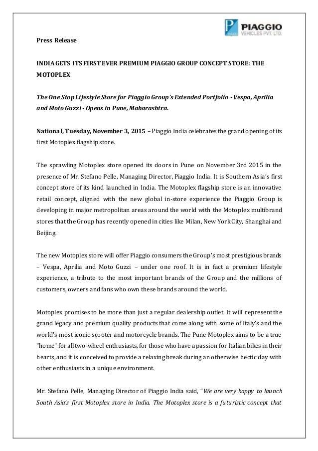 Piaggio Motoplex Pune Launch Press Release