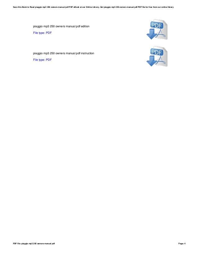 piaggio mp3 250 owners manual pdf rh slideshare net Big Easy Instruction Manual Danby DPAC120068 Instruction Manual