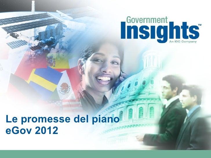 Le promesse del piano eGov 2012