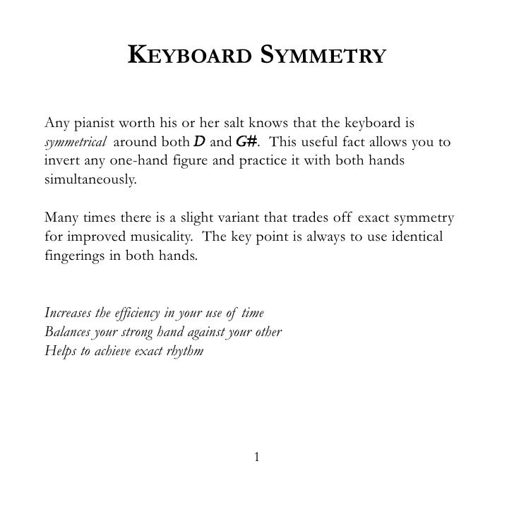 KEYBOARD SYMMETRY  Any pianist worth his or her salt knows that the keyboard is symmetrical around both D and G#. This use...