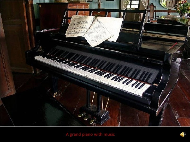 A grand piano with music