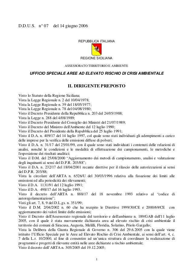 D.D.U.S. n° 07  del 14 giugno 2006  REPUBBLICA ITALIANA  REGIONE SICILIANA ASSESSORATO TERRITORIO E AMBIENTE  UFFICIO SPEC...