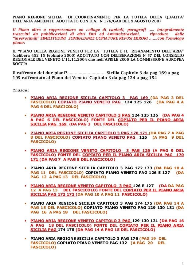 1 PIANO REGIONE SICILIA DI COORDINAMENTO PER LA TUTELA DELLA QUALITA' DELL'ARIA AMBIENTE ADOTTATO CON D.A. N 176/GAB DEL 9...