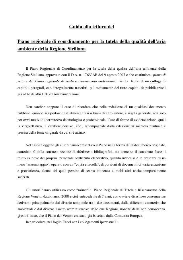 Guida alla lettura delPiano regionale di coordinamento per la tutela della qualità dell'ariaambiente della Regione Sicilia...